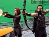 Scarlett Johansson e Jeremy Ranner durante le riprese di The Avengers